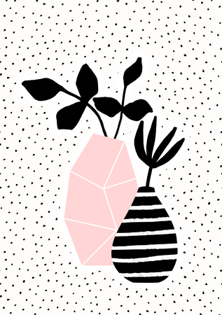 Geometric pink vase and black and white stripes vase with black branches on dots texture background. Cute and modern Scandinavian style illustration, perfect for greeting cards, wall art, invitations, etc.