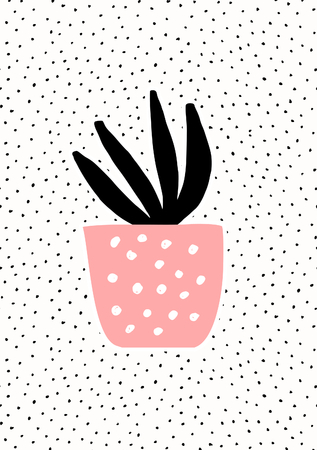 pot leaf: Pink pot with black succulent plant on dots texture background. Cute and modern Scandinavian style illustration, perfect for greeting cards, wall art, invitations, etc.