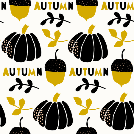 traditional pattern: Seamless repeating pattern with pumpkins, acorns and branches on cream background. Traditional style tiling background, poster, textile, greeting card design. Illustration