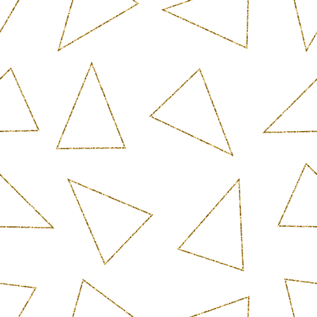 triangle pattern: Seamless repeating pattern with gold glitter triangles on white background. Modern and elegant tiling background, poster, textile, greeting card design.