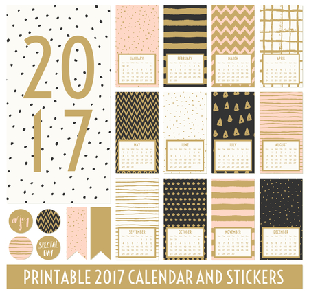 Twelve month 2017 calendar template. Hand drawn patterns in black, gold, pastel pink and cream. Matching round stickers and ribbons.