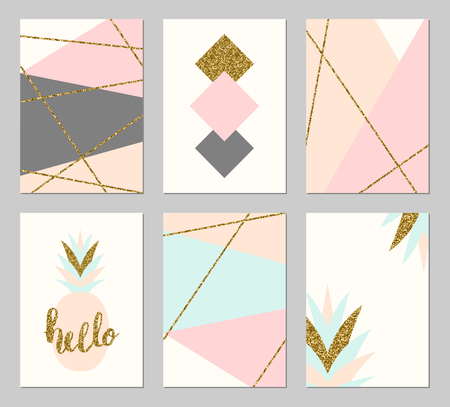 A set of six abstract geometric designs in gold glitter, gray, cream, light blue and pastel pink. Modern and original greeting card, invitation, poster design templates. Illustration
