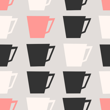 tearoom: Mid-century style seamless repeating pattern with coffee cups in black, pastel pink and cream on taupe background. Stylish and modern greeting card, wrapping paper, party invitation, wall art design.