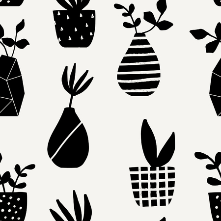 grey pattern: Seamless repeating pattern with vases and pots in black on cream background. Cute and modern Scandinavian style illustration, perfect for greeting cards, wall art, wrapping paper, etc. Illustration