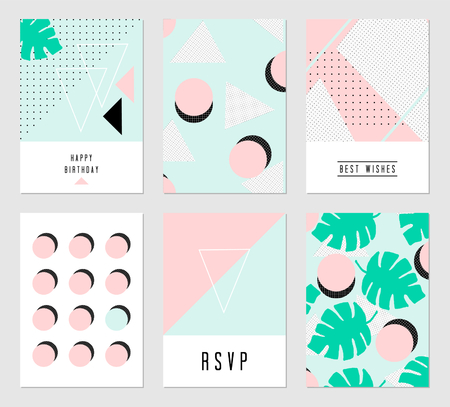 abstract pink: A set of six abstract geometric designs in black, white, light blue and pastel pink. Modern and original greeting card, invitation, poster design templates.