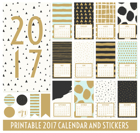 number 12: Twelve month 2017 calendar template. Hand drawn patterns in black, gold, pastel blue and cream. Matching round stickers and ribbons. Illustration