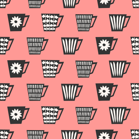 Mid-century style seamless repeating pattern with coffee cups in black and cream on pink background. Stylish and modern greeting card, wrapping paper, party invitation, wall art design.