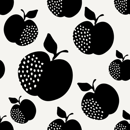 Seamless repeating pattern with apples in black on cream background. Retro style tiling background, poster, textile, greeting card design.