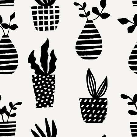 succulent: Seamless repeating pattern with vases and pots in black on cream background. Cute and modern Scandinavian style illustration, perfect for greeting cards, wall art, wrapping paper, etc. Illustration