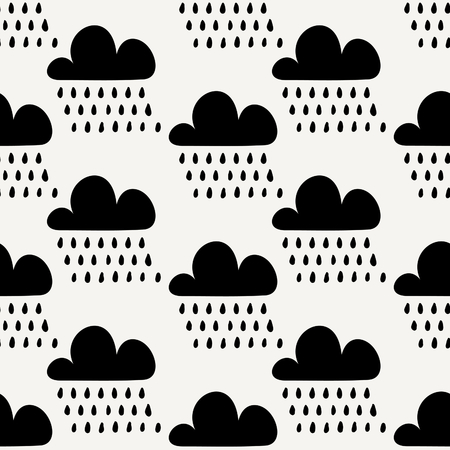 rainfall: Seamless repeating pattern with black clouds and rainfall on cream background. Cute and modern wrapping paper, poster, textile, greeting card design. Illustration