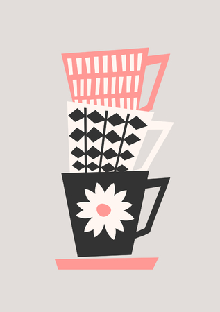 Mid-century style illustration of stacked coffee cups in black, pastel pink and cream on taupe background. Stylish and modern greeting card, flyer, cover, wall art design.