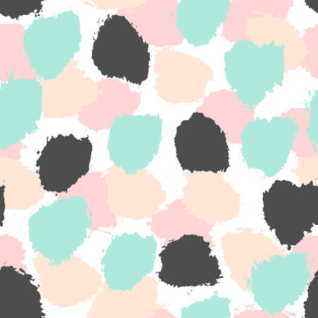 grunge backgrounds: Hand painted brush strokes in light blue, pastel pink and black on white background. Seamless abstract repeating background. Illustration