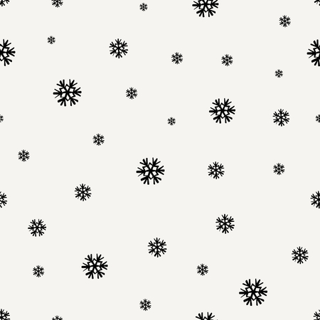 tiling: Seamless repeating pattern with snowflakes in black on cream backdrop. Tiling festive background, greeting card or wrapping paper. Illustration
