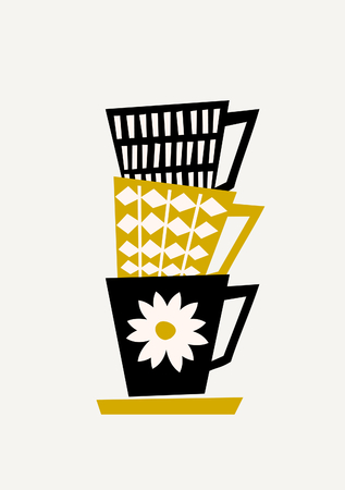 Mid-century style illustration of stacked coffee cups in black, yellow and cream on taupe background. Stylish and modern greeting card, flyer, cover, wall art design. Illustration