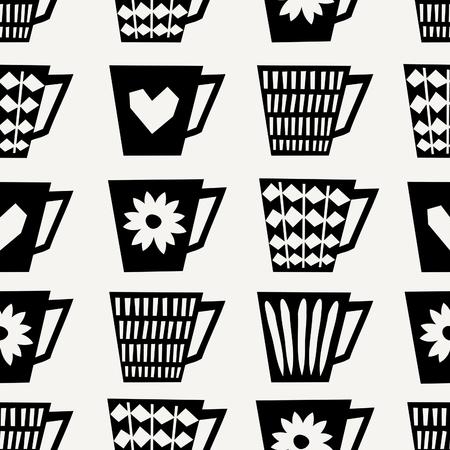 #66070881   Mitte Des Jahrhunderts Stil Nahtlose Wiederholendes Muster Mit  Kaffeetassen In Schwarz Auf Cremefarbenen Hintergrund. Stilvolle Und Moderne  ...
