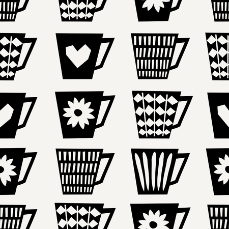 Mid-century style seamless repeating pattern with coffee cups in black on cream background. Stylish and modern greeting card, wrapping paper, party invitation, wall art design. Illustration
