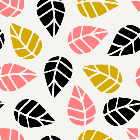 black and pink: Seamless repeating pattern with black, pink and yellow leaves on cream background. Autumn tiling background, poster, textile, greeting card design. Illustration