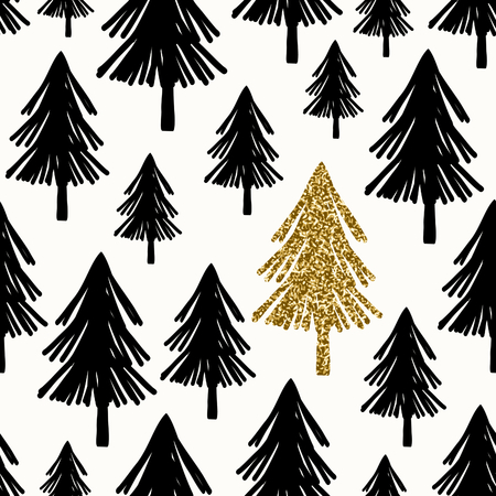 winter tree: Seamless repeating pattern with Christmas trees in black and gold glitter on white background.
