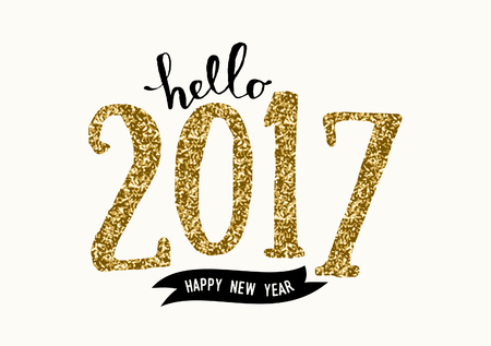 Typographic design greeting card template with text Hello 2017 Happy New Year. Modern style poster, greeting card, postcard design in black, cream and gold glitter.