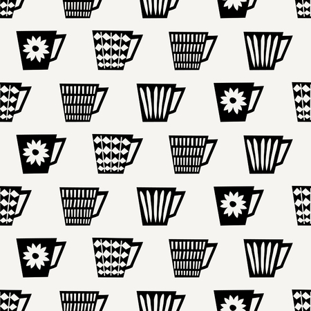 #66071287   Mitte Des Jahrhunderts Stil Nahtlose Wiederholendes Muster Mit  Kaffeetassen In Schwarz Auf Cremefarbenen Hintergrund. Stilvolle Und Moderne  ...