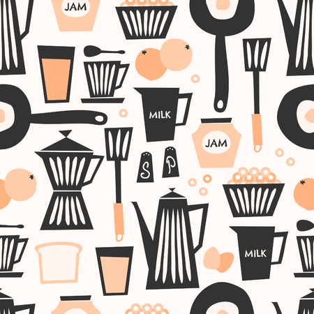 Mid-century style seamless repeating pattern with breakfast items in black, pastel orange and cream on taupe background.