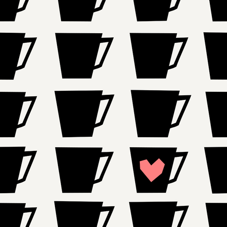 tearoom: Mid-century style seamless repeating pattern with coffee cups in black on cream background. Stylish and modern greeting card, wrapping paper, party invitation, wall art design. Illustration