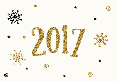 shiny gold: Typographic design New Year greeting card template. Modern style poster, greeting card, postcard design in black, cream and gold glitter.