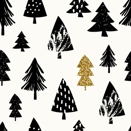 christmas gold: Seamless repeating pattern with textured Christmas trees in black and gold glitter on white background.