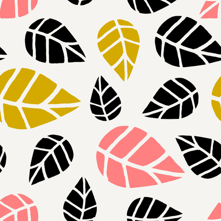 textile background: Seamless repeating pattern with black, pink and yellow leaves on cream background. Autumn tiling background, poster, textile, greeting card design. Illustration
