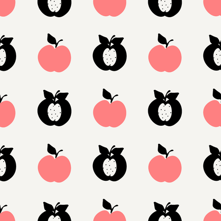 textiles: Seamless repeating pattern with apples in black and coral pink on cream background. Retro style tiling background, poster, textile, greeting card design.