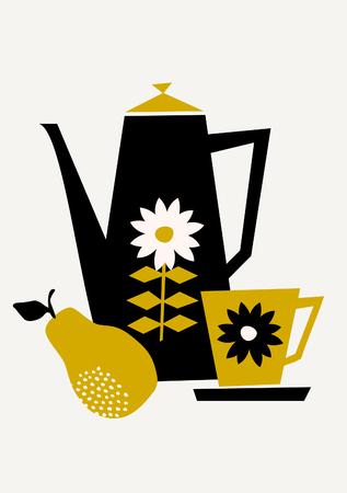 コーヒー ポット、カップ、黒、黄色とクリーム ベージュの背景の上に洋梨のミッドセンチュリー スタイルのイラスト。スタイリッシュでモダンな  イラスト・ベクター素材