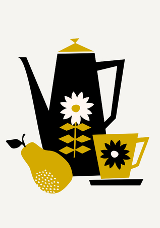 Mid-century style illustration of a coffee pot, a cup and a pear in black, yellow and cream on taupe background. Stylish and modern greeting card, party invitation, wall art design. Illustration