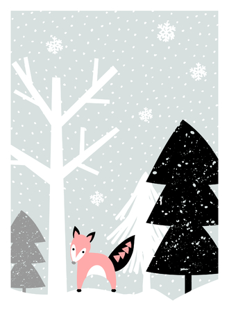winter snow: Christmas greeting card design with trees, snowflakes and a cute fox in pastel colors. Modern winter season poster, brochure, wall art design.