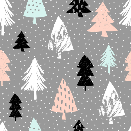 black textured background: Seamless repeating pattern with textured Christmas trees in black, pastel pink, light blue and white on gray background. Modern and original festive textile, gift wrap, wall art design.