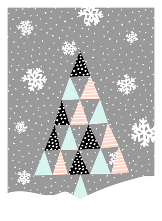 textured wall: Christmas greeting card design with a textured geometric Christmas tree and snowflakes on gray background. Modern winter season poster, brochure, wall art design.