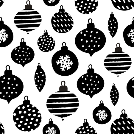 textured wall: Seamless repeating pattern with textured Christmas baubles in black on white background. Modern and original festive textile, gift wrap, wall art design.