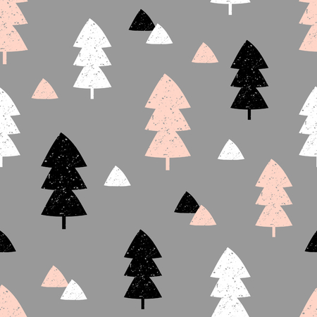 pink christmas: Seamless repeating pattern with textured Christmas trees and triangle shapes in black, pastel pink and white on gray background. Modern and original festive textile, gift wrap, wall art design. Illustration