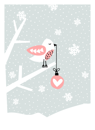 grey background texture: Christmas greeting card design with a cute bird on a branch holding a Christmas bauble. Modern winter season poster, brochure, wall art design.