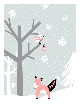 winter colors: Christmas greeting card design with trees, snowflakes, a bird and a cute fox in pastel colors. Modern winter season poster, brochure, wall art design.
