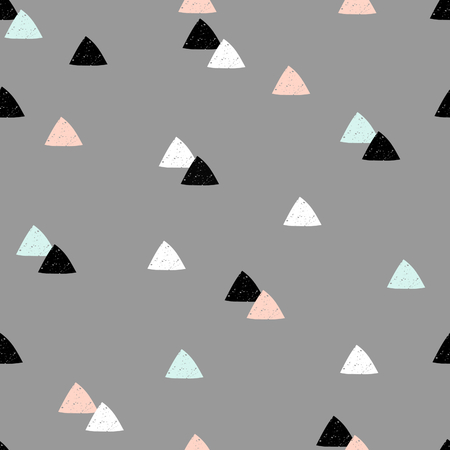textured wall: Seamless repeating pattern with textured triangle shapes in black, pastel pink, light blue and white on gray background. Modern and original textile, gift wrap, wall art design. Illustration