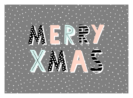 grey background texture: Typographic style design for a Christmas greeting card with decorative letters on dark gray background. Modern winter season poster, brochure, wall art design.