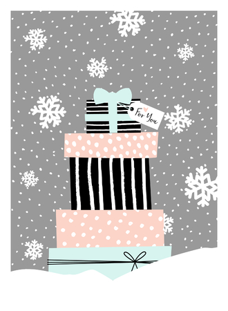 grey background texture: Christmas greeting card design with a pile of Christmas presents in pastel colors. Modern winter season poster, brochure, wall art design.
