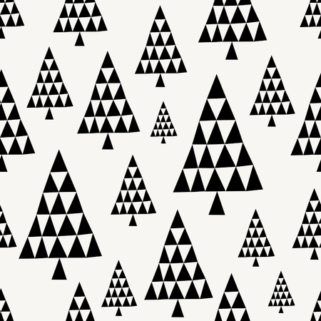 winter tree: Seamless repeating pattern with geometric Christmas trees in black and cream. Minimalist festive textile, gift wrap, wall art design. Illustration