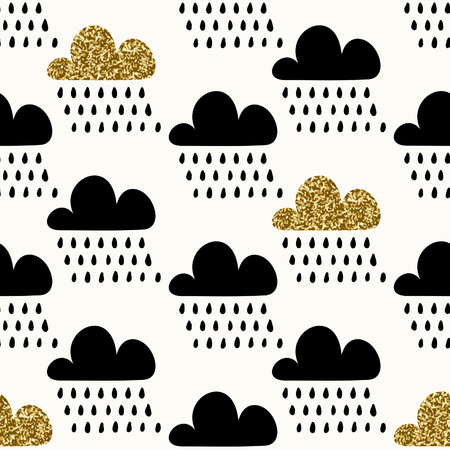 clouds: Seamless repeating pattern with textured gold glitter and black cloud shapes and raindrops on cream background. Cute and modern wrapping paper, poster, textile, wall art design. Illustration