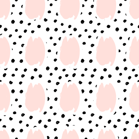 Hand painted brush strokes in pastel pink on black and white dots background. Seamless abstract repeating background. Illustration