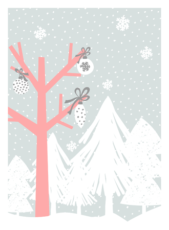 pink christmas: Christmas greeting card design with trees, snowflakes and Christmas decoration in pastel colors. Modern winter season poster, brochure, wall art design.