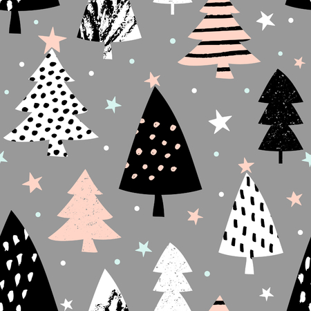 black textured background: Seamless repeating pattern with textured Christmas trees in black, pastel pink and white on gray background. Modern and original festive textile, gift wrap, wall art design.