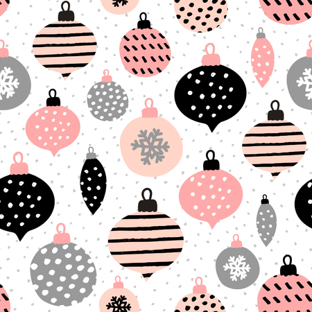 wall design: Seamless repeating pattern with textured Christmas baubles in black, pastel pink and gray on white background. Modern and original festive textile, gift wrap, wall art design.