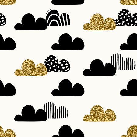 paper art: Seamless repeating pattern with textured gold glitter and black cloud shapes on cream background. Cute and modern wrapping paper, poster, textile, wall art design.