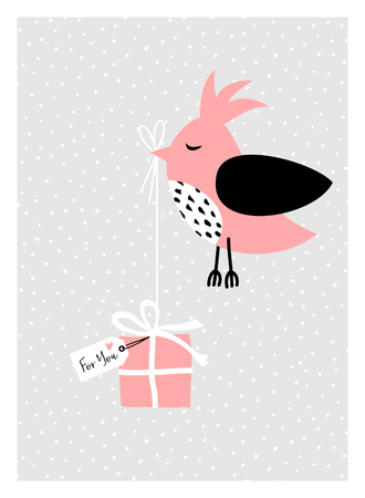 Christmas greeting card design with a cute bird holding a Christmas present. Modern winter season poster, brochure, wall art design.